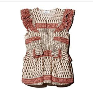 NWT Lini Harriet Printed Ruffled Top Small Pink